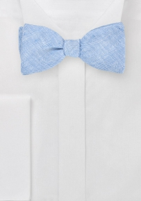 Self Tie Bow Tie in Blue Linen