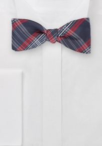 Modern Plaid Bow Tie in Navy and Reds