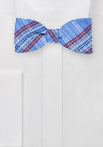 Luxe Plaid Bow Tie in French Blue
