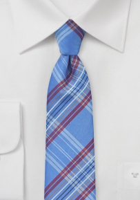 Tartan Plaid Skinny Tie in French Blue