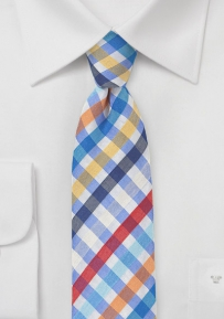 Skinny Seersucker Plaid Necktie in Blue