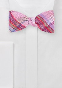 Designer Plaid Bow Tie in Pinks