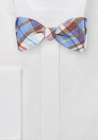 Modern Plaid Bow Tie in Blue and Browns