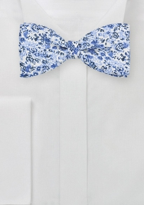Floral Print Silk Bow Tie in Self Tie Style