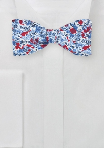 Summer Floral Bow Tie in Red and Blue