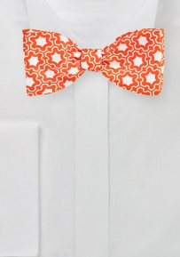 Modern Graphic Print Bow Tie in Orange and White