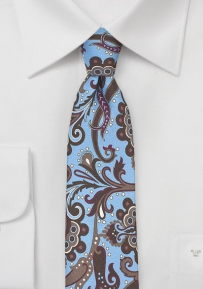 Trendy Carnaval Paisley Tie in Light Blue and Espresso