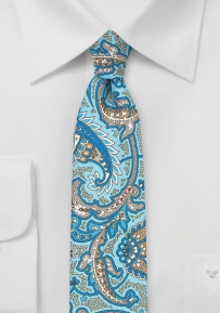 Summer Paisley Skinny Tie in Aqua, Royal Blue, and Silver