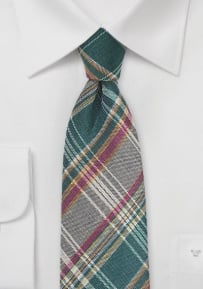 Havana Plaid Tie in Green and Brown