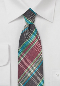 Havana Plaid Tie in Burgundy and Brown