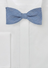 Glen Check Patterned Bow Tie in Blue