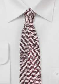 Prince of Wales Check Skinny Tie in Cognac and Silver