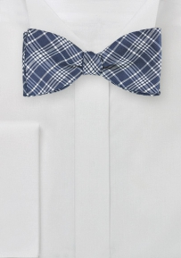 Modern Plaid Bow Tie in Navy and Silver
