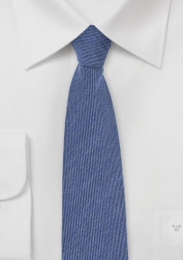 Wool Chambray Skinny Tie in Faded Denim