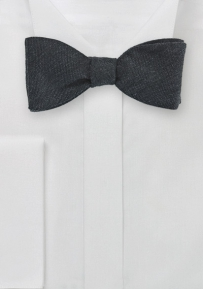 Solid Charcoal Gray Bow Tie in Wool