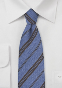 Wool Striped Tie in Blue and Dark Brown