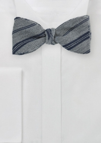 Winter Wool Bow Tie in Gray with Stripes in Dark Navy