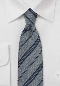 Wool Striped Necktie in Navy and Gray