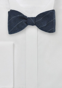 Wool Self Tie Bow Tie in Navy with Pencil Stripe