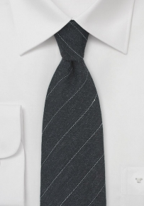 Pencil Stripe Wool Tie in Charcoal Gray