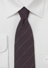 Mahogany Brown Pencil Stripe Wool Necktie