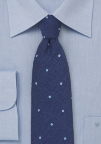 Blue Wool Polka Dot Tie