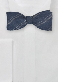 Self Tied Striped Bow Tie in Linen