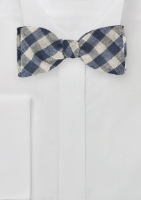 Navy and Beige Gingham Bow Tie in Wool