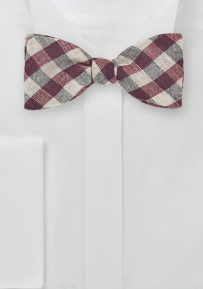 Mens Bow Tie with Wine Red and Tan Gingham