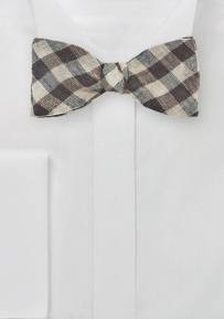 Wool Bow Tie in Brown and Tan with Gingham Checks