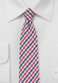 Trendy Skinny Tie with Red and Blue Gingham