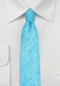 Summer Linen Skinny Tie in Pool Blue