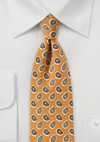 Pop-Art Paisley Tie in Curry Yellow