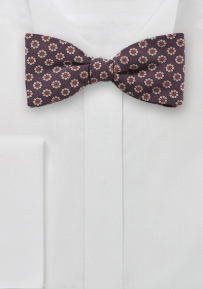 Retro Floral Bow Tie in Burgundy