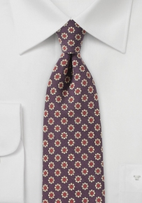 Retro Floral Print Tie in Burgundy