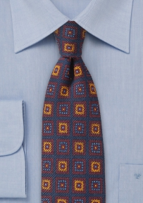 Skinny Wool Tie with Vintage Medallion Print