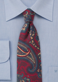 Vintage Skinny Paisley Tie in Red and Blue