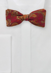 Red and Orange Wool Paisley Bowtie