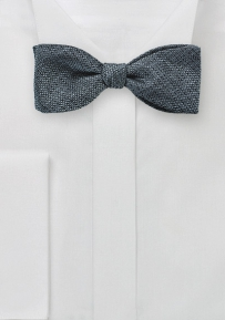 Metallic Gray Bow Tie in Pure Silk