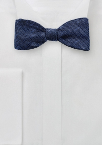 Dark Navy Bow Tie in Woven Silk