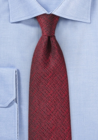 Burgundy Silk Tie with Woven Texture