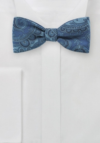 Blue Denim Colored Paisley Bow Tie