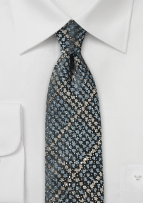 Trendy Gray Narrow Tie in Snake Skin Look