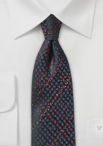 Skinny Tie in Blue and Burgundy in Snake Skin Design