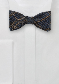 Snake Skin Design Bowtie in Brown and Navy