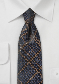 Copper and Blue Skinny Snake Skin Design Tie