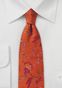 Deep Orange Skinny Wool Tie with Florals