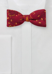 Self Tie Wool Bow Tie in Red with Orange Florals