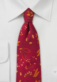 Skinny Floral Wool Tie in Red and Orange