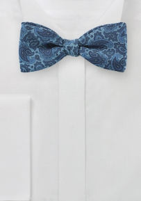 Self Tied Bow Tie with Blue Paisley Print